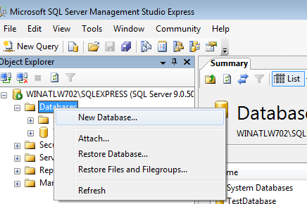 Setting up SQL and Restoring a Database On the left side, you will see the name of your SQL Server and all of the subdirectories underneath. 4.