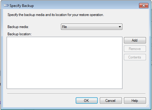 Setting up SQL and Restoring a Database The Specify Backup screen displays. 4. Click Add.