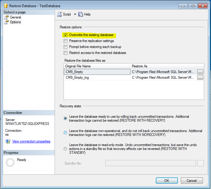 Setting up SQL and Restoring a Database 7. Check the box next to your newly selected backup set. 8.