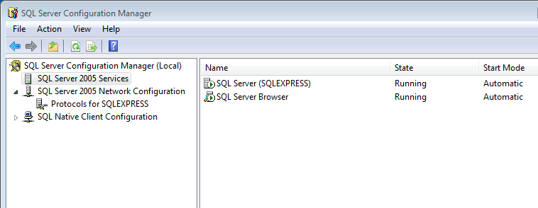Configuring SQL Express to Allow Outside Connections 9. Under each of the IP s (IP1, IP2, ect.) enter 1433 for the TCP Port. 10. Click Apply. The SQL Server Configuration Manager screen displays. 11.