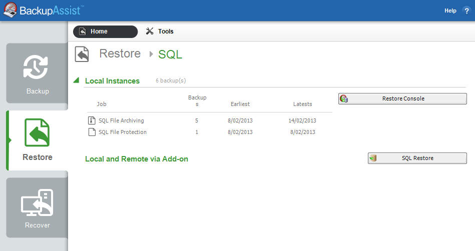 6. Restoring an SQL Server Protection backup BackupAssist provides an inbuilt SQL restore tool that can be used to restore SQL databases to both local and remote SQL servers.