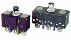 Three Phase TC Series Circuit Breakers Miniature Ambient Compensated Features One phase trips all Protective shields between each phase s terminals Pads increase mounting stability Also includes