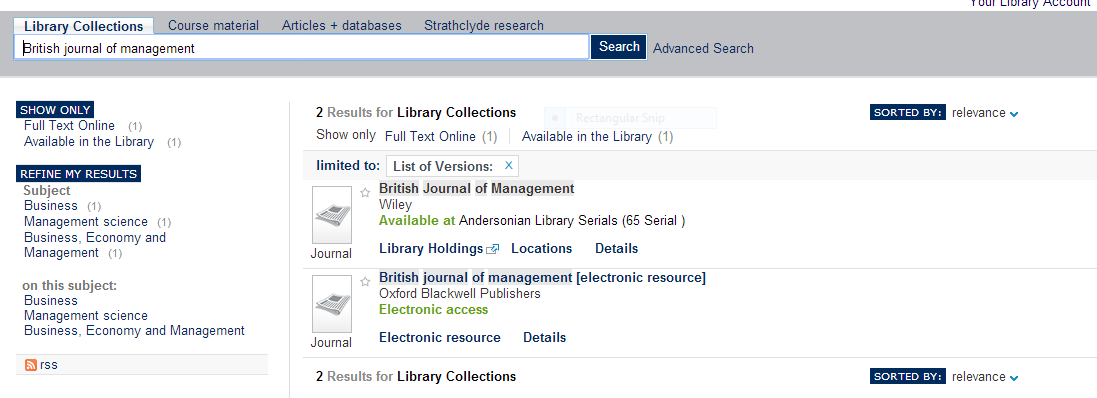 SUPrimo journal search Search for a specific journal Print version: view location