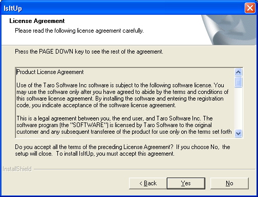 Please read the License Agreement and select Yes to