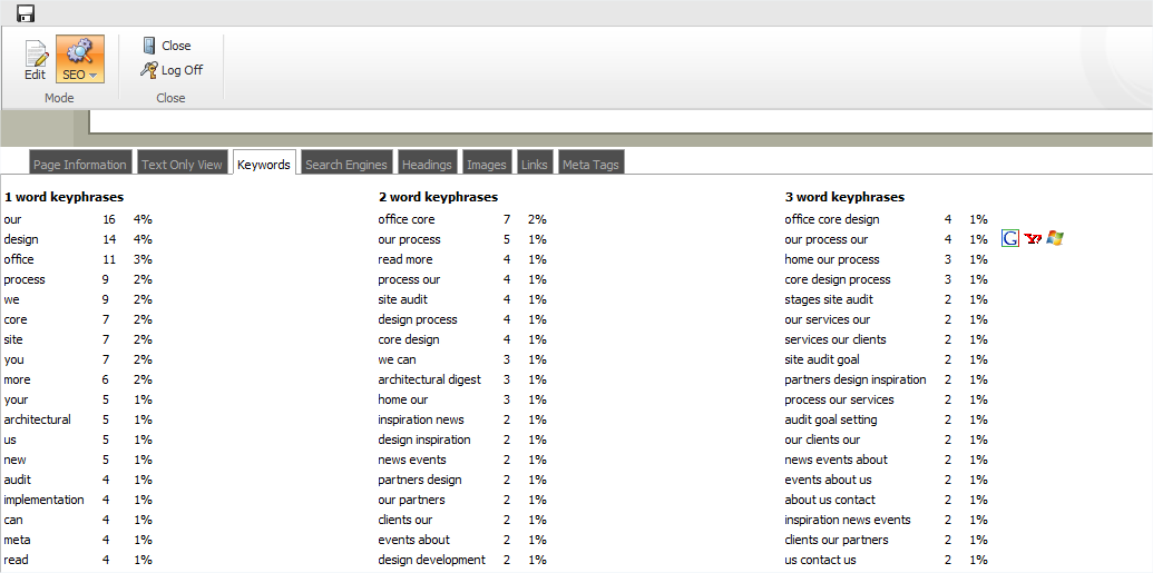 Keywords The Keywords tab lists the words and combinations of words that are used most often on this page. Search engines analyze the content of the page to decide how relevant it is for user queries.