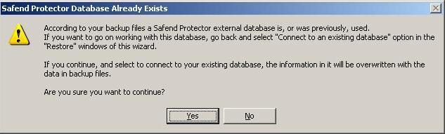 In this window, click Yes in order to overwrite the existing database.