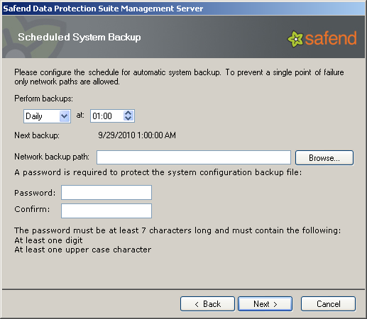 22. Click Next. In the following window, you will be asked to backup the system generated by Safend Data Protection Suite.