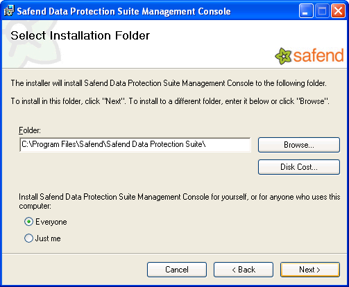 6. In the Select Installation Folder window, select the folder in which the Safend Data Protection Suite Management console will be installed.