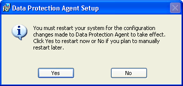 8. You must now restart your computer in order for the Safend Data Protection Suite Client to begin protecting the endpoint. When the following window is displayed, click Yes.