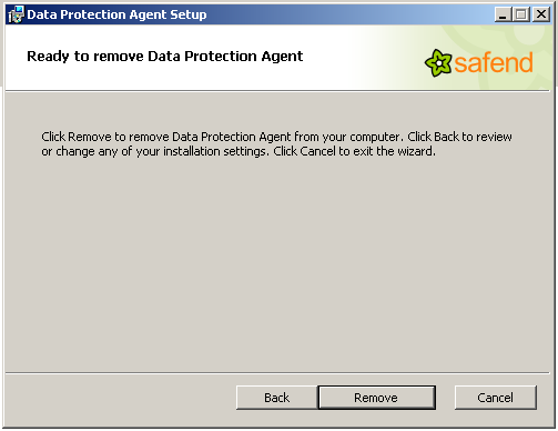 5. Enter the uninstall password that you defined in the Policies World in the Safend Data Protection Suite Management Console and click Next. The following window opens: 6.