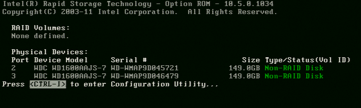 4.3 Version Identification To identify the version of the Intel Rapid Storage Technology option ROM in the system BIOS, enter the option ROM user interface.