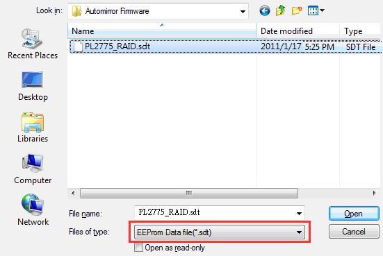 2. Make sure the device drive is detected before you can write the configuration. Click the Load EEP button first to load the PL2775 RAID SDT configuration file. 3.