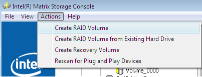 Volume Creation 9 Volume Creation RAID and recovery volumes can be created using the Intel Matrix Storage Console.