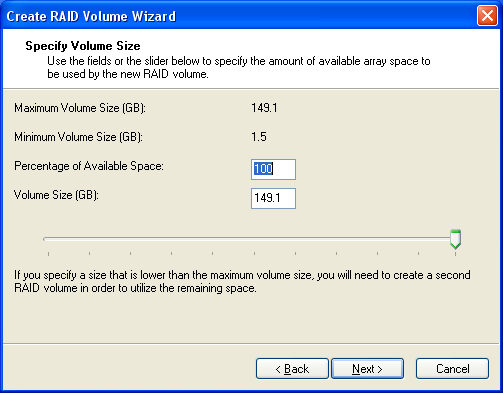 Volume Creation 11. Enter a size for the RAID volume.