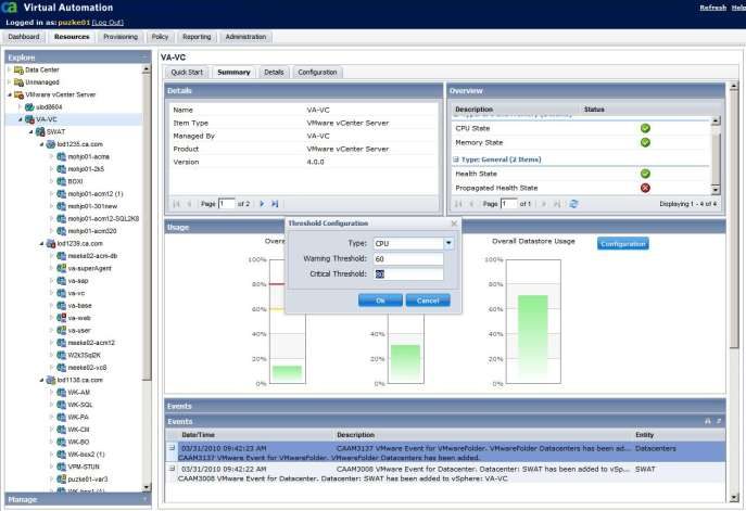Virtual Center management customizable Thresholds can