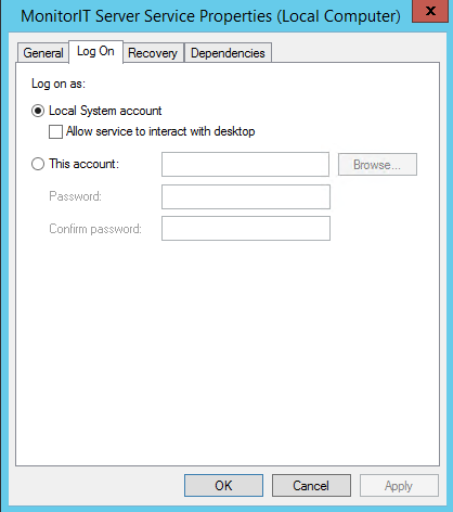 VII. Configure the MonitorIT Windows Service for Remote SQL Databases When connecting to a remote SQL Server, it is necessary to modify the MonitorIT Server Windows Service with the appropriate logon