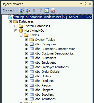3. Click Connect to connect to the server. 4. In the Object Explorer window, expand the server, Databases, NorthwindHOL, and Tables folders to see the tables imported by the wizard.