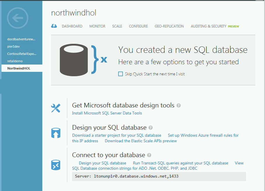 For your applications, you can change the connection string to now point to the Azure SQL Database server and database. 1. Go back to the Azure portal and click on SQL DATABASES. 2.