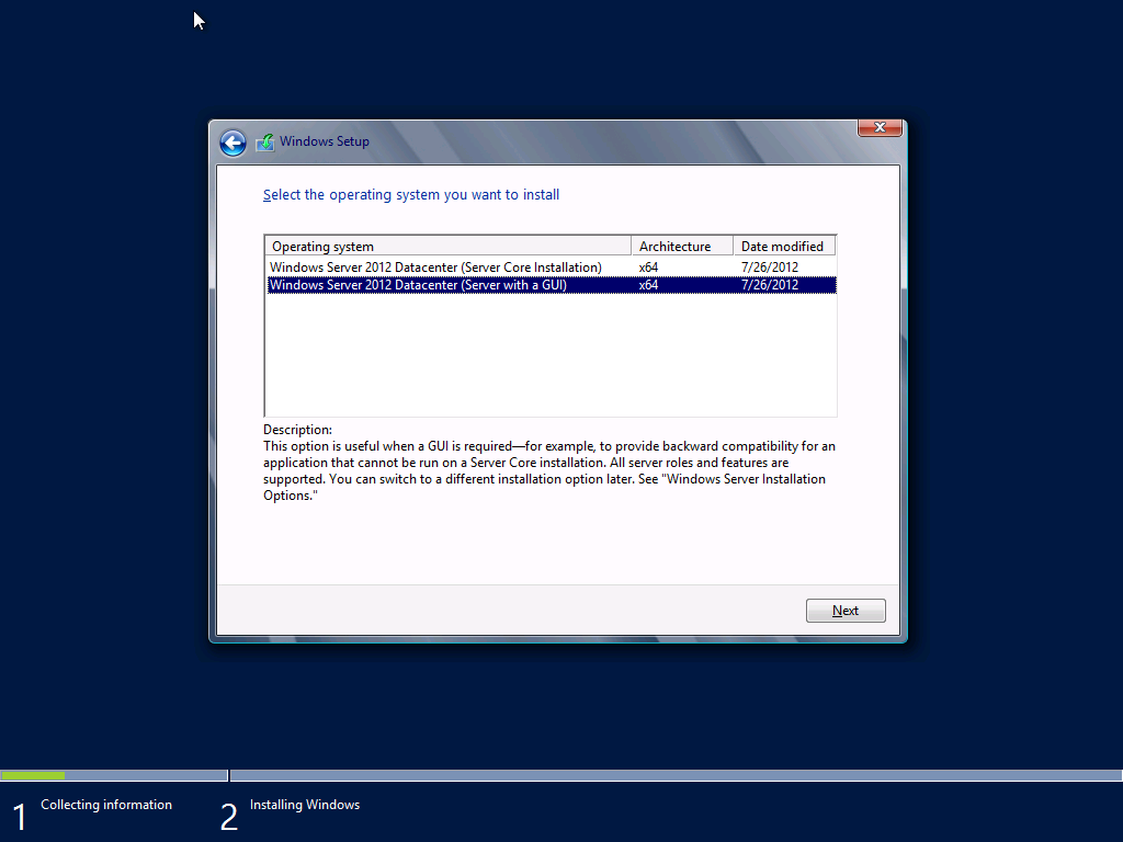 steps required to install the operating system. For detailed steps, see Appendix B. 1. Insert the Windows Server 2012 DVD media into the DVD drive of the Dell PowerEdge R720 server. 2. By default, the server will boot to the DVD drive.