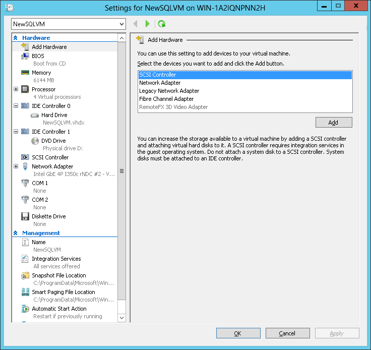 Figure 3. Virtual machine configuration in Hyper-V. Installing SQL Server 2012 on your virtual machines After you create your virtual machines, install SQL Server 2012 on each VM.