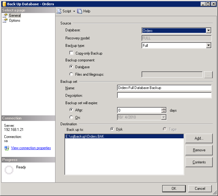 Figure 8: SQL Server 2005 backup configuration.