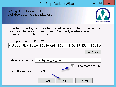 5. Make a note of backup folder specified and ensure Full database