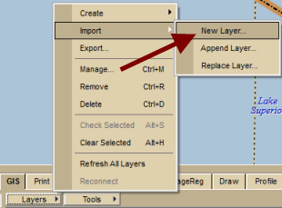 2. Open a project file with your layers or load the layer(s) into your current workspace. 3. Click a layer to select it. 4. Click Layers and then Export. 5.