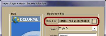 12. Click the box next to the Data File field and select an Openspace file from step 8. 13. Select the database you want to use to store the layer.