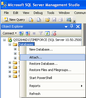 2. Once your database files have been moved to your chosen directory you can attach them to your SQL instance.