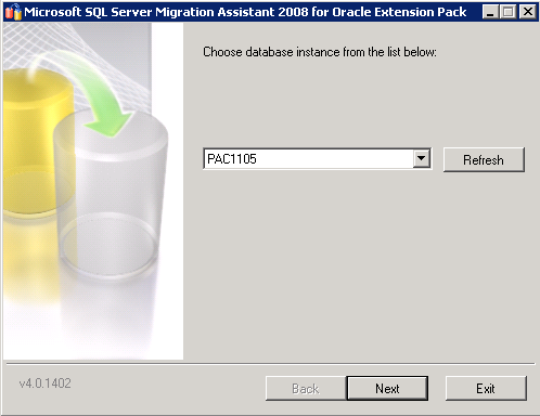 14. Choose the SQL Server database instance (your instance