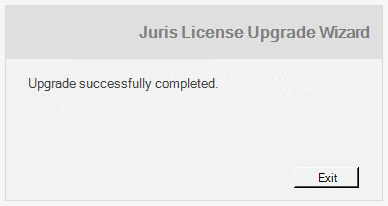 Completing the License Upgrade Process (New Installation Only) If you are performing a new (non-upgrading) installation of Juris, you need to specify a path to use to save the license file.