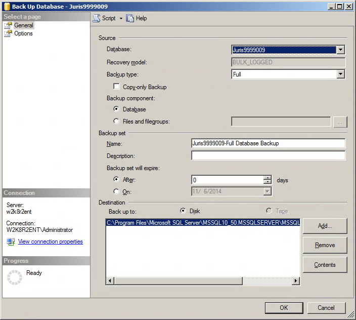 6. Right-click the Juris database, and click Tasks / Back Up. The Back Up Database - Juris dialog box appears. 7.