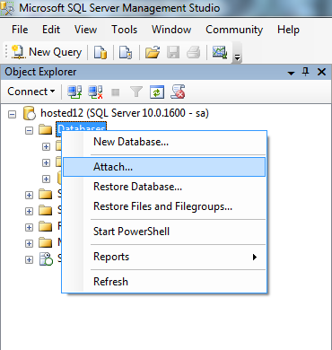 6. Attach the GO!NotifyLink database to the new server: a. Right click Databases and select Attach.