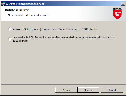 2.3 Database selection Select a database that the G Data ManagementServer will use.
