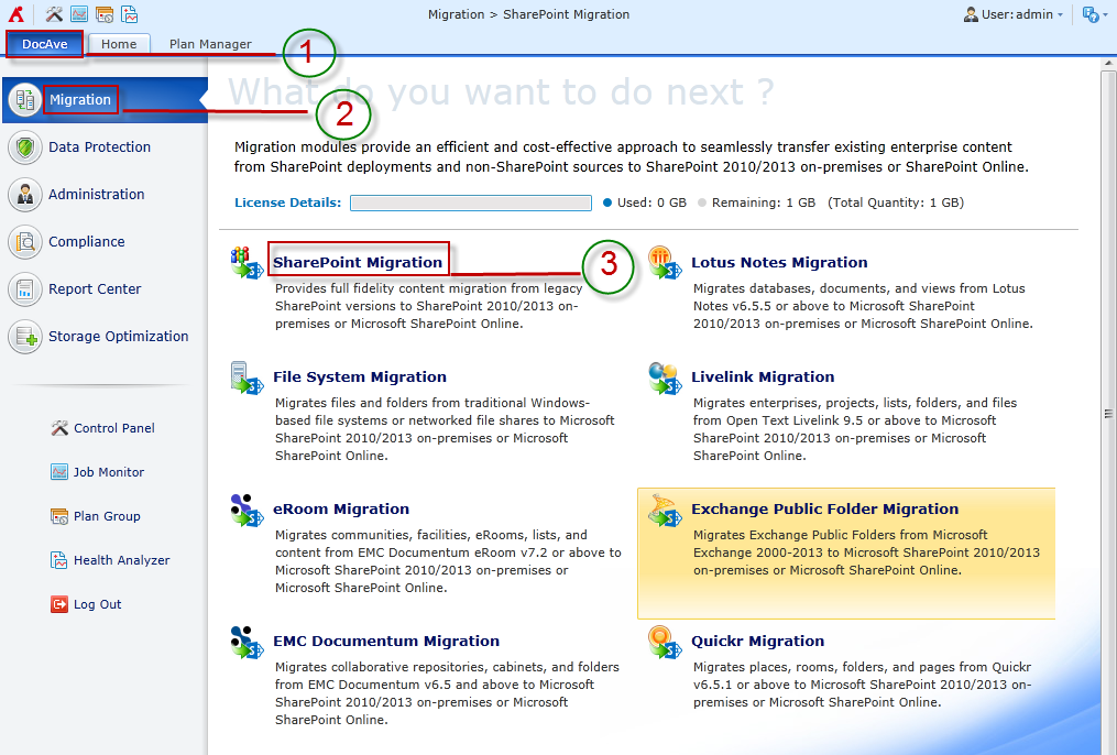 Figure 1: DocAve module launch window. *Note: You can also access the License Details information for Migrator products from the Migration landing page.