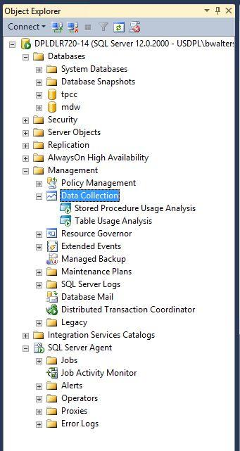 10. In Object Explorer navigate to Data Collection, right click Stored Procedure Usage Analysis