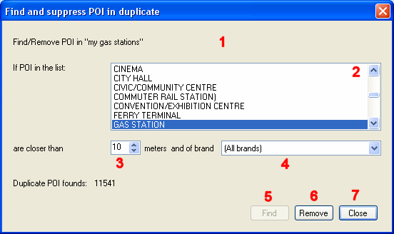 3.4.2. REMOVE POI IN DUPLICATE This feature help you to remove POI from an added list which are already in one or several other lists (added or from the map). 1.