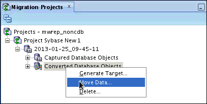 Create the Offline Data Move Scripts To move data to the target database, perform the following steps: 1. In the Migration Projects tab, right-click Converted Database Objects.