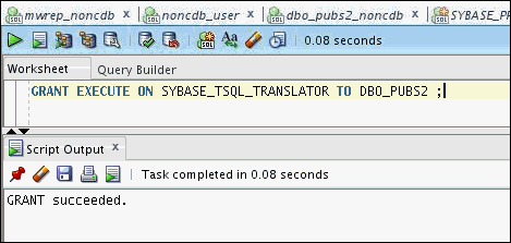 12. Verify that the user has sufficient privileges to run the translation profile. When prompted, supply SYS password to grant LoadJava privileges to dbo_pubs2 user. 13. Install Translator. 14.