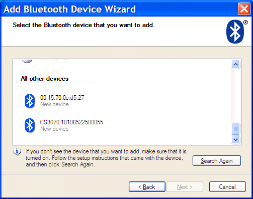Getting Started 1-11 3. On the host PC, launch the third party Bluetooth pairing application. Following is a sample window of such an application.