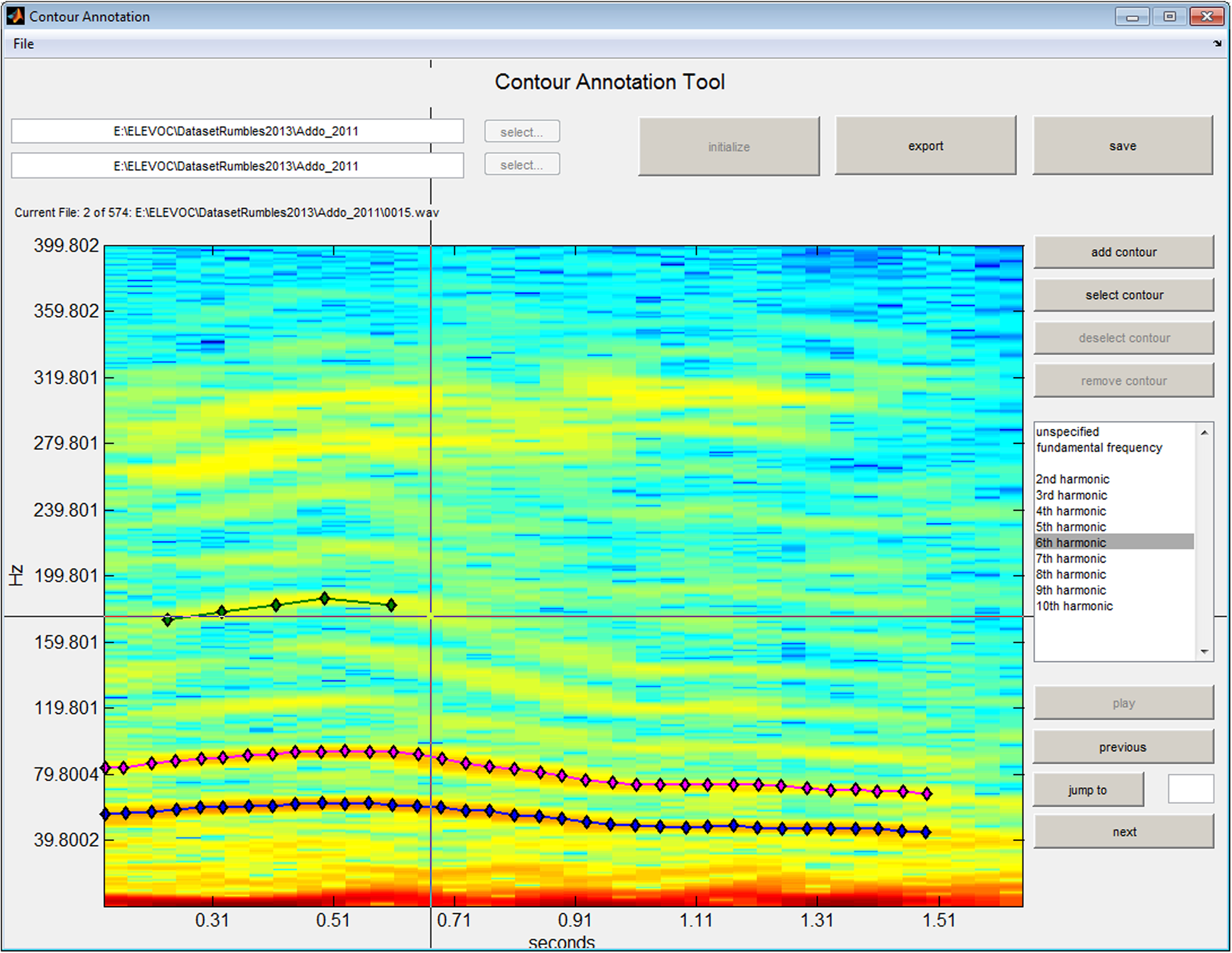 Zeppelzauer and Stoeger BMC Res Notes (2015) 8:409 Page 7 of 15 Fig. 3 The developed semi-automatic sound annotation tool. The user can annotate and label frequency tracks.