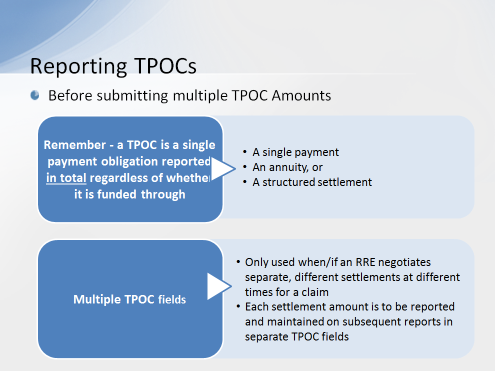 Before submitting multiple TPOC Amounts, remember that a TPOC is a single payment obligation reported in total regardless of whether it is funded through a single payment, an annuity or a structured