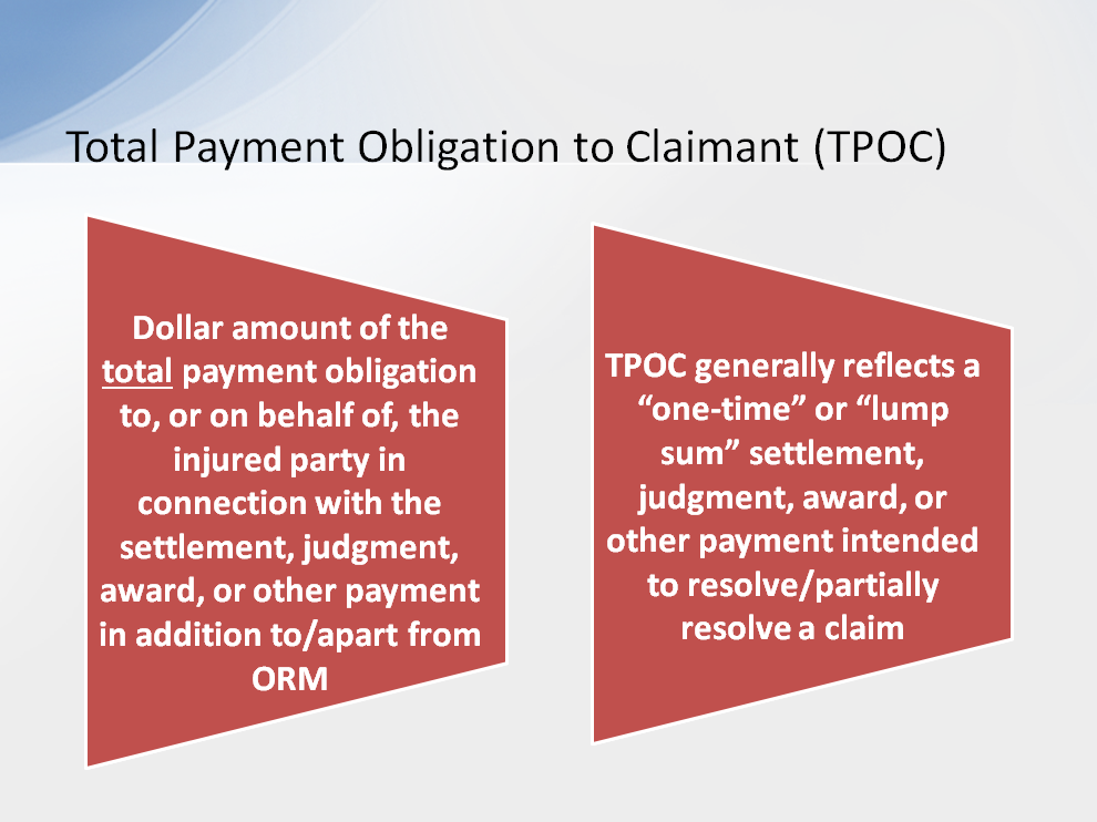 CMS uses the term TPOC to refer to the dollar amount of the total payment obligation to, or on behalf of, the injured party in connection with the settlement, judgment, award, or other payment in