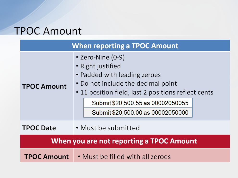 This is a numeric field. When reporting a TPOC Amount, the only values you can enter in this field are the numbers zero through nine.