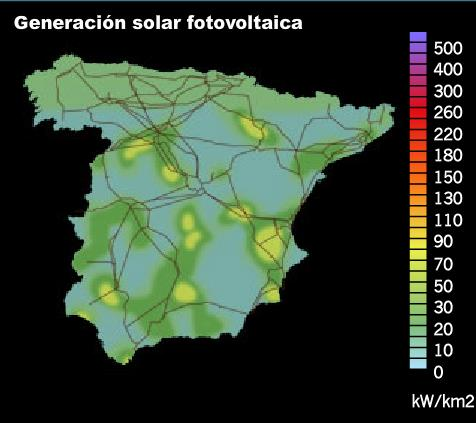 Extremadura. In the rest of Spanish regions, PV coverage is generally around 5%.
