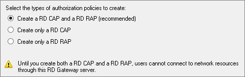 Resource Authorization Policies Remote Desktop resource authorization policies (RD RAPs) allow you to specify the internal Windows-based instances that remote users can connect to through an RD