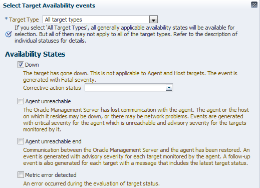 Figure 33. Choose Agent unreachable state for the host target. Create a rule to send notifications to the appropriate administrators for the host incident.