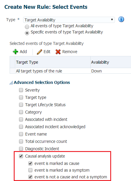 Figure 37. When creating an event rule, you can exclude symptoms as part of the rule criteria. With the selections above, events that are marked as symptoms will be not be included in the rule.