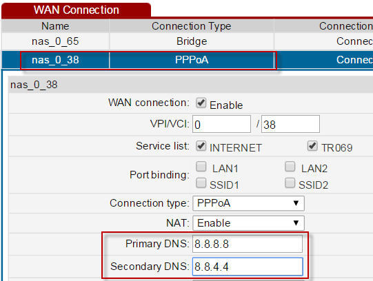 Statically assigned DNS servers Now to force the router's DNS server to communicate with a dedicated DNS server such as opendns or Google etc, enter the relevant IP addresses as shown below.