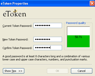 To change the Password of etoken: 1.